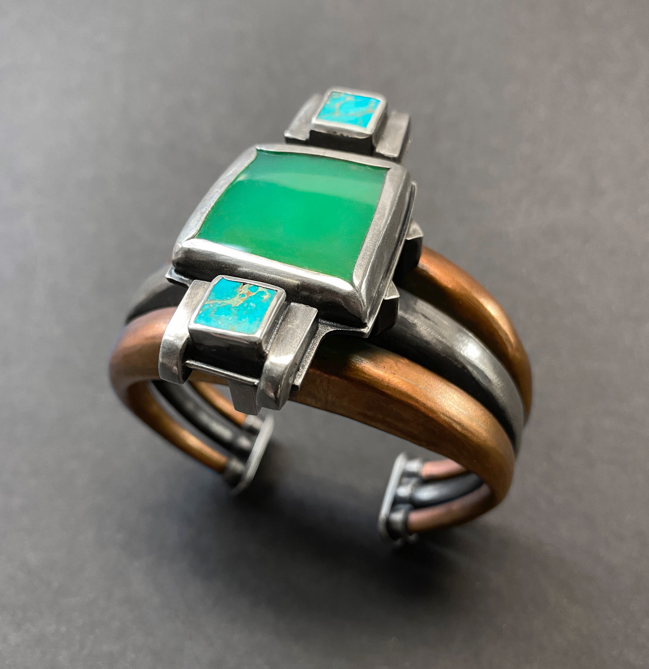 Michael Gleason • New Horizons Bracelet • Sterling silver, copper, chrysoprase, turquoise • $500