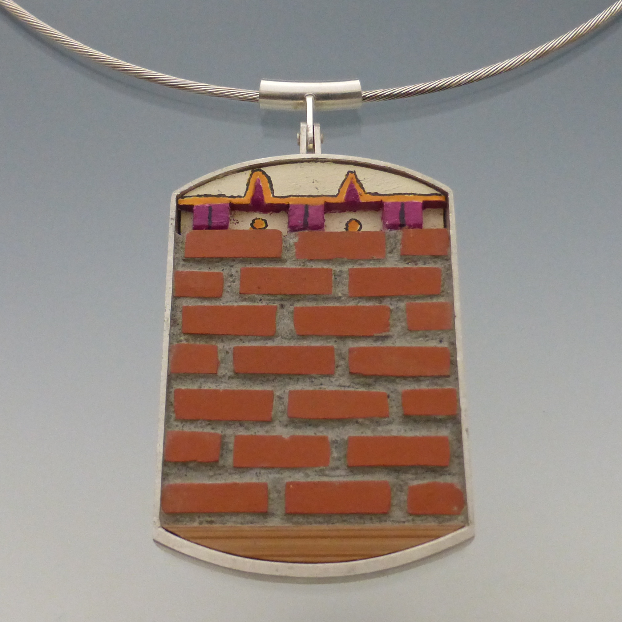 Tom McCarthy • Corbeled Pendant, from the New Home series • Sterling, concrete, terracotta, wood, paint • $60