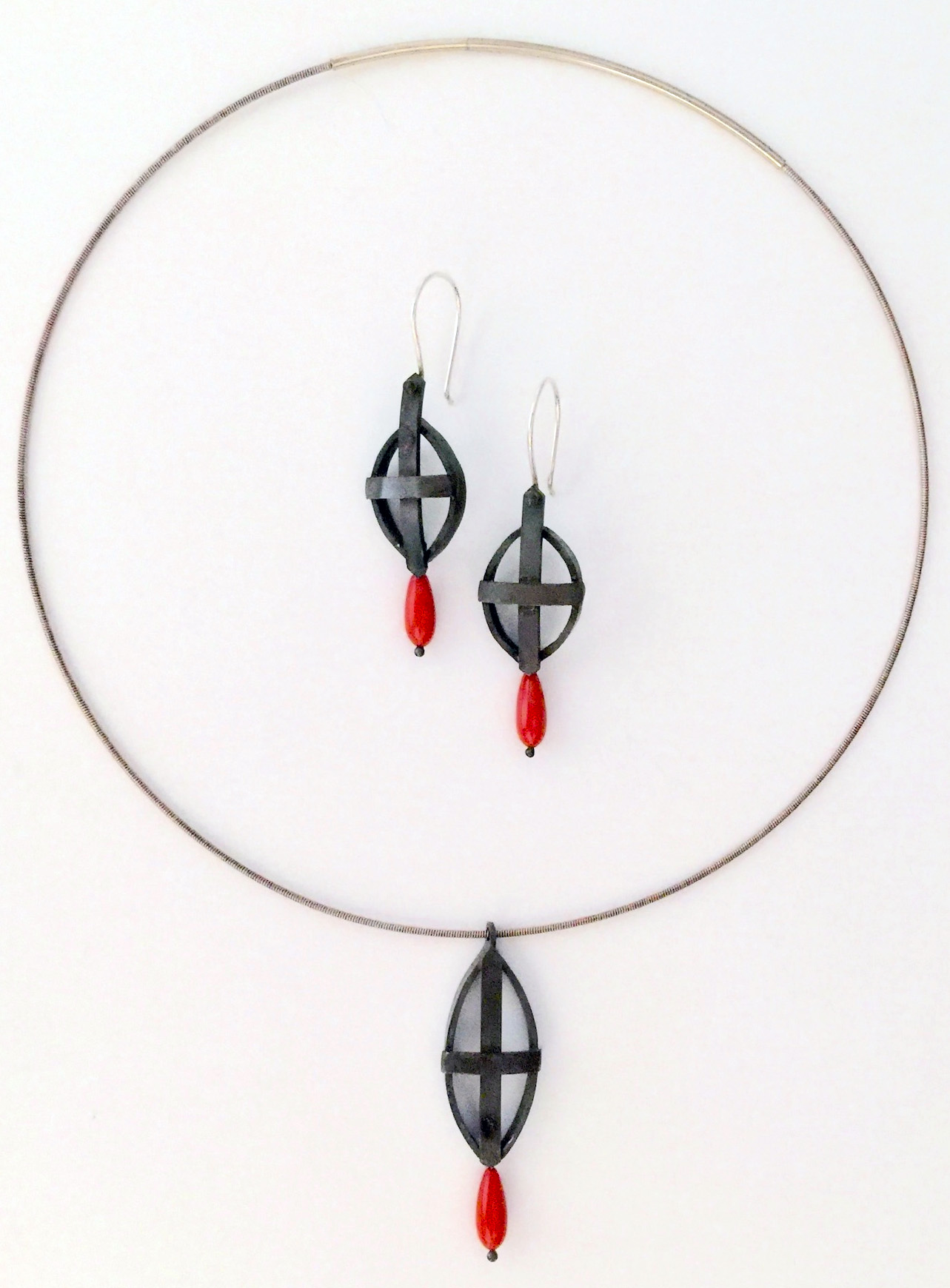 Yuko Suga • Bound • Sterling silver, coral, stainless steel cord • $470