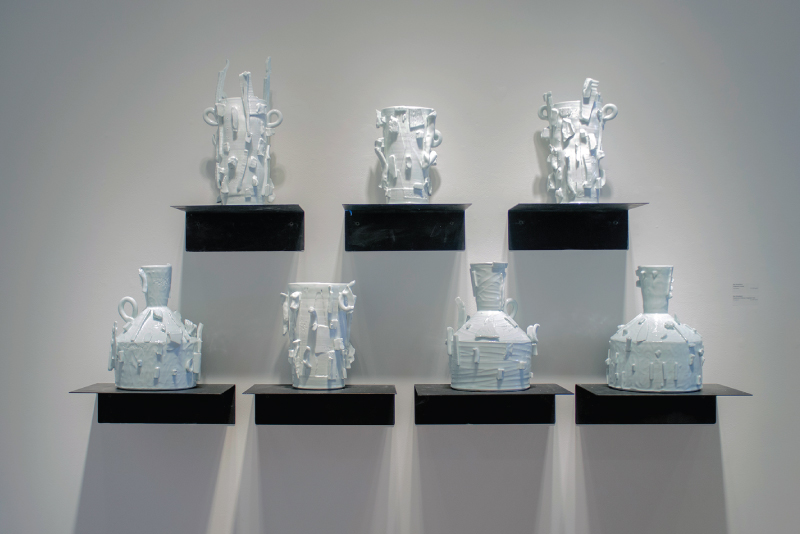 """Fragment Vessels"" and ""House and Chimney Fragment Pots"" by Roy Strassberg, porcelain, $1200-$1500"