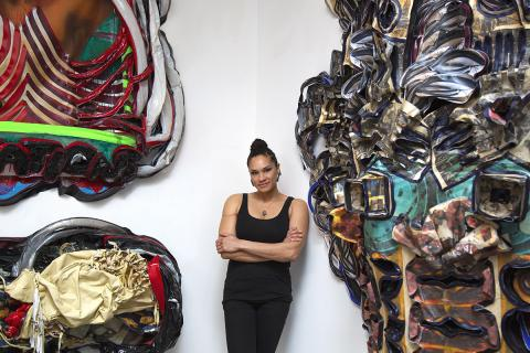 Alicia Piller with her work